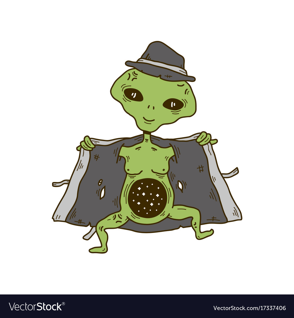 Alien in a hat and coat show cosmos space