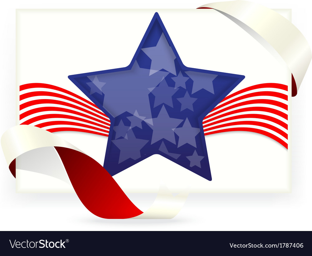 American flag for Business cards with ribbon