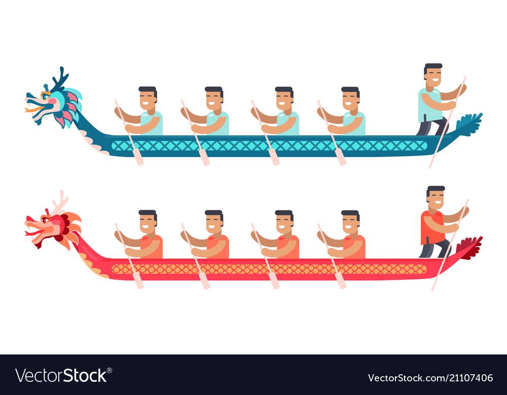 Asian men in long boats in shape of dragon set