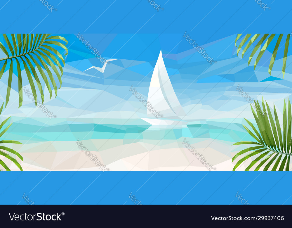 Banner blue sea with a white sailboat