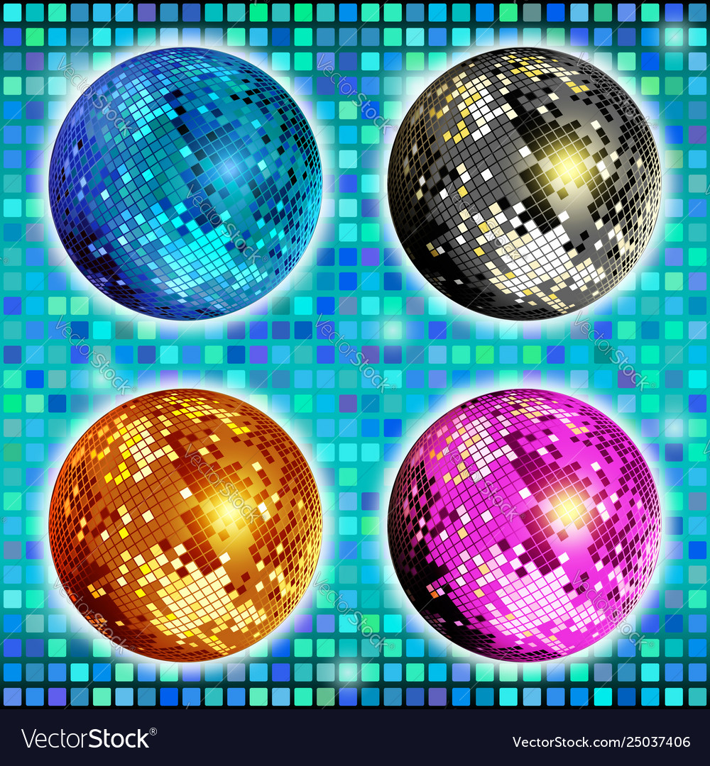 Blue gold silver and pink disco ball set of