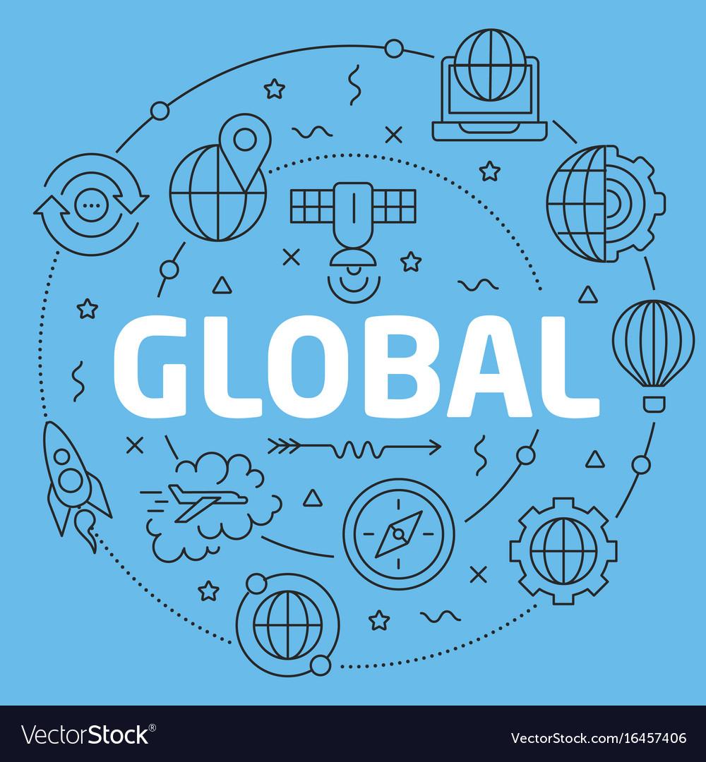 Blue line flat circle global