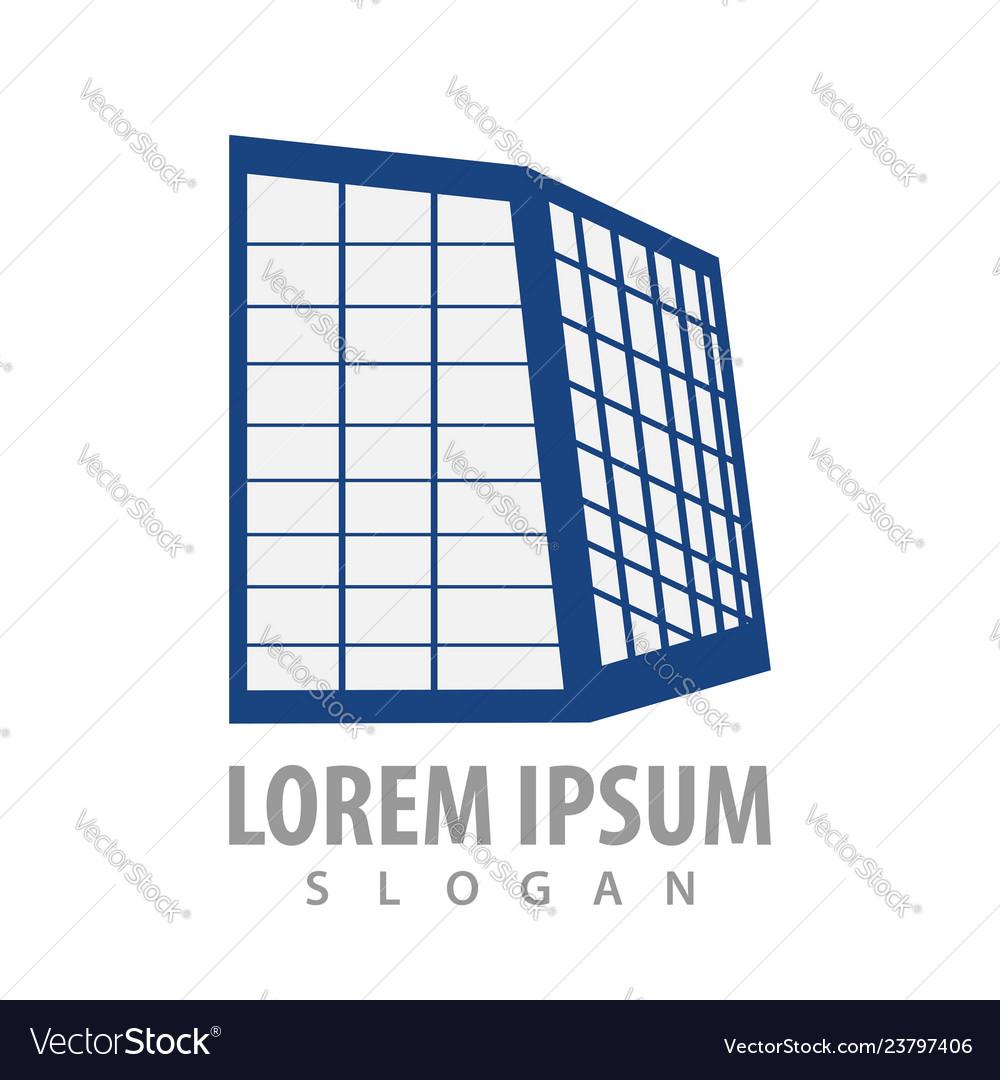 Building glass frames logo concept design symbol