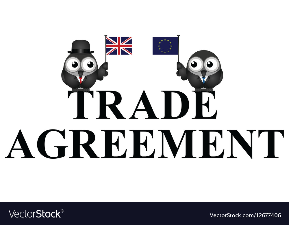 Comical Uk Eu Trade Agreement Royalty Free Vector Image