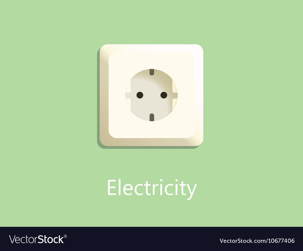 Electricity socket plug on green background with