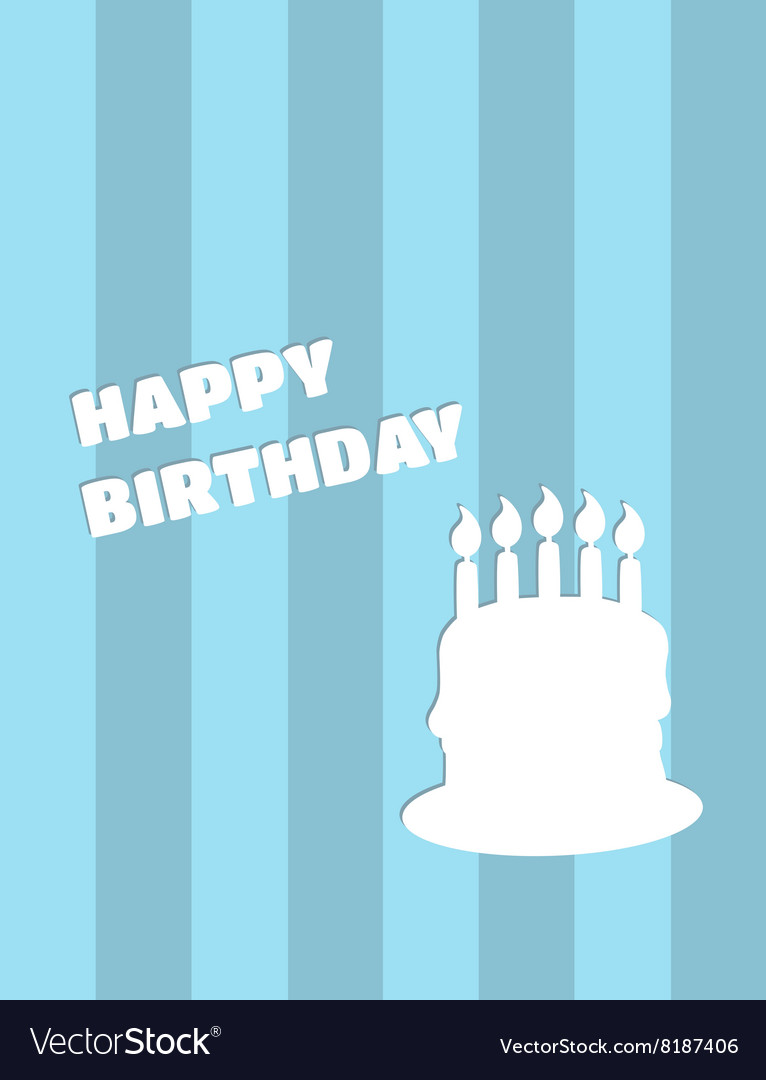 Happy birthday card with cake on blue vector image