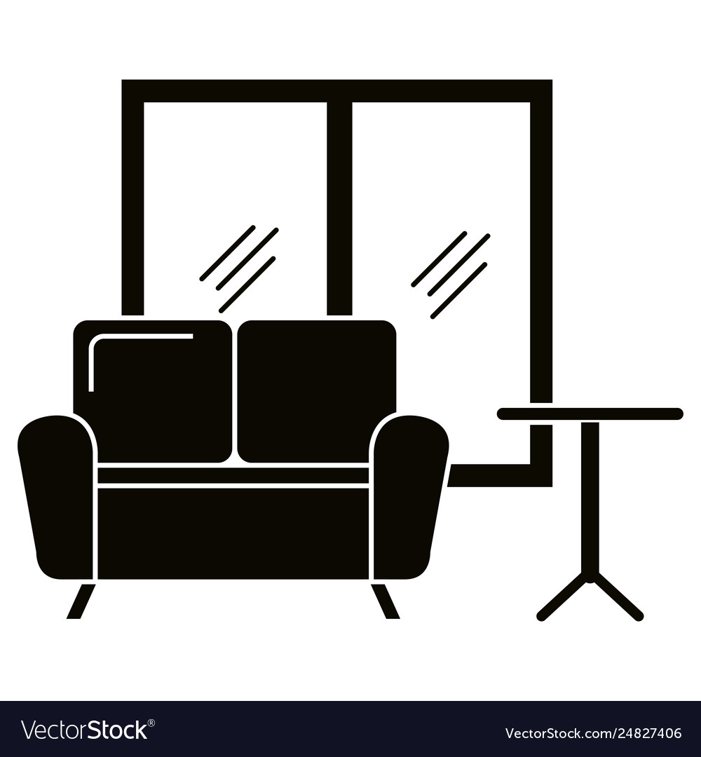 Home livingroom scene icons Royalty Free Vector Image