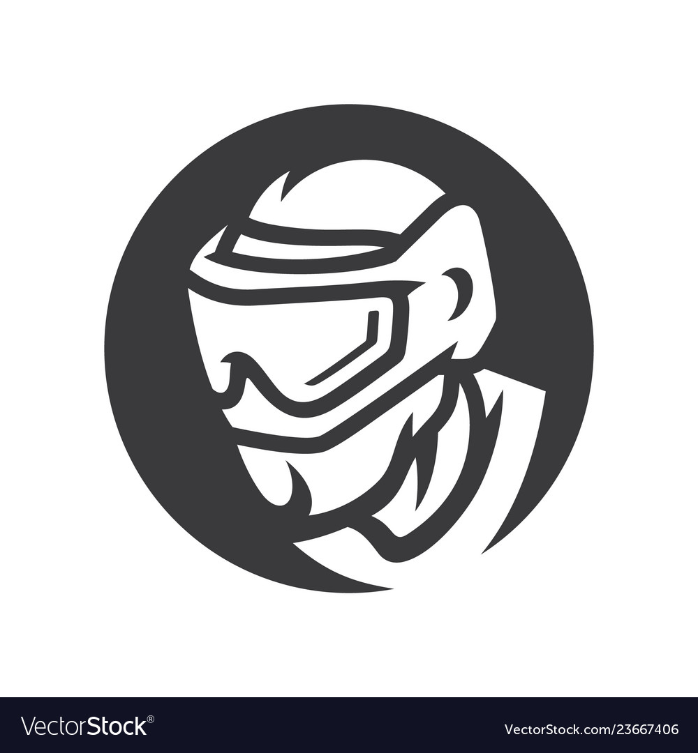 Paintball player in mask simple silhouette