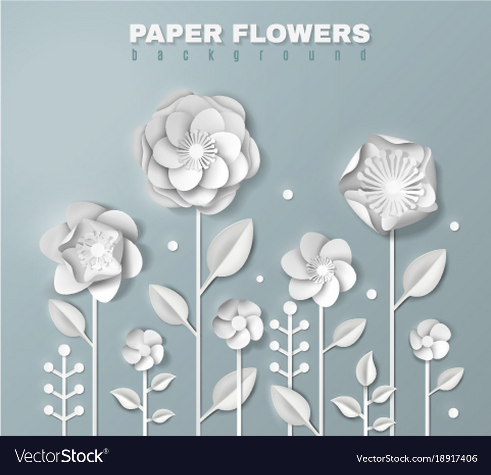 Realistic Paper Flowers Background Royalty Free Vector Image