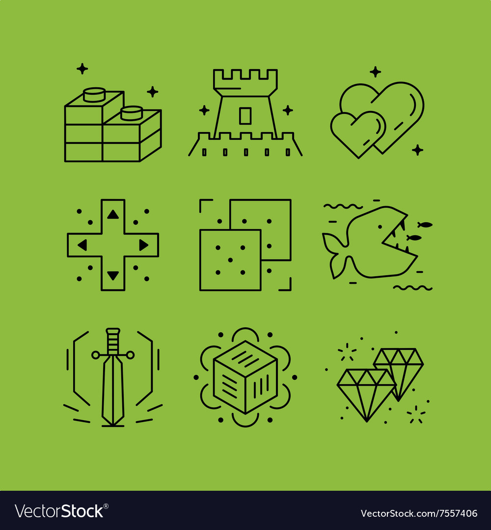 Set of line icons in the flat style