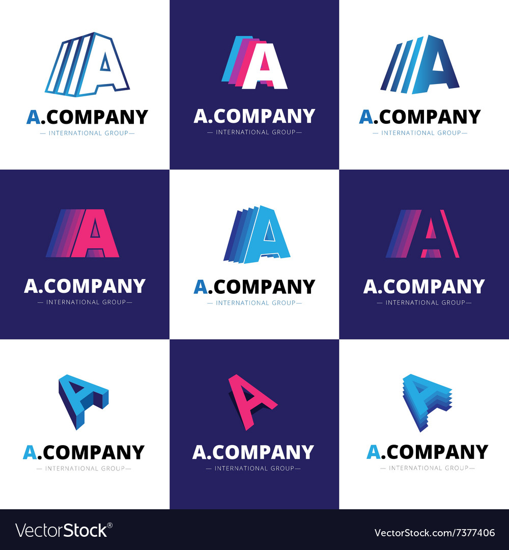 Set of nine trendy A letter logos