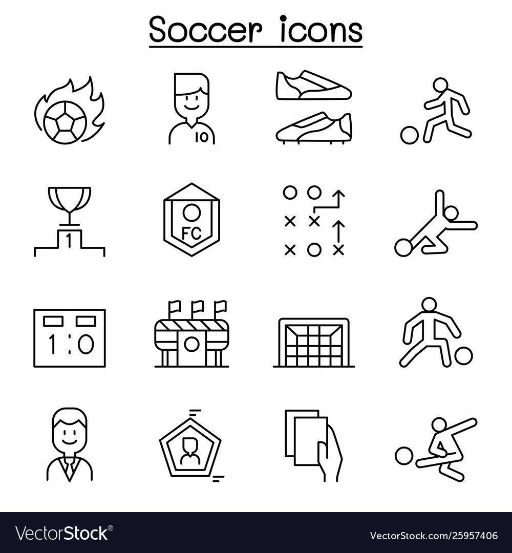 Soccer football icon set in thin line style