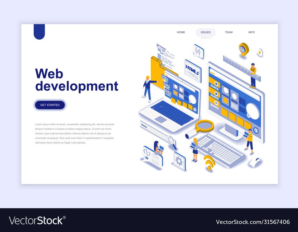 Web Development Modern Flat Design Isometric Vector Image