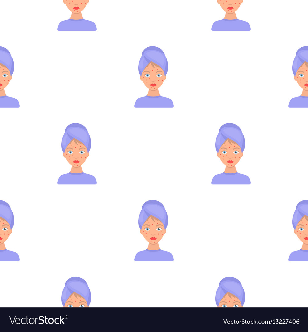 Woman with acne icon in cartoon style isolated on