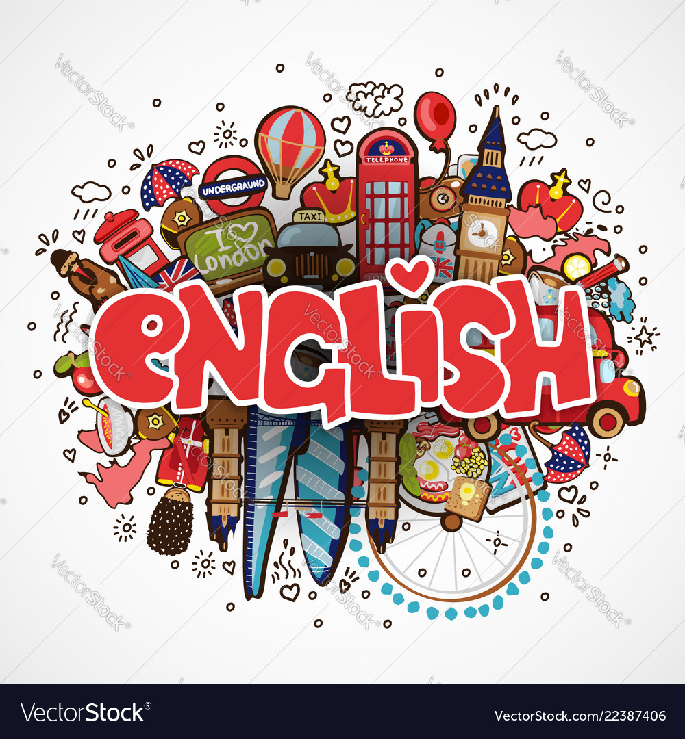 Word English On White Background With England Vector Image