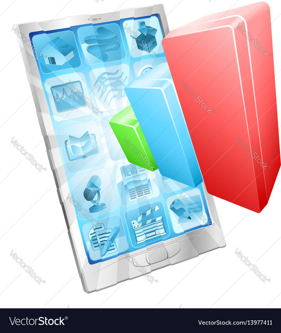 Analytics phone app concept vector image