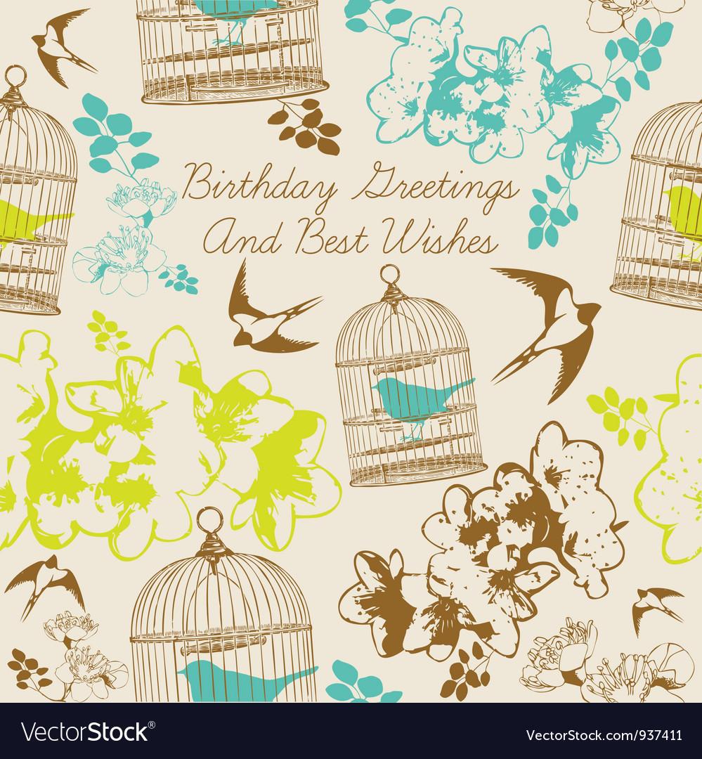 Birthday Swallows Card