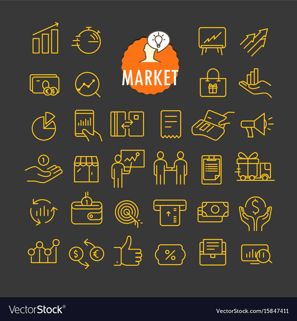 Different marketing icons collection web and vector image