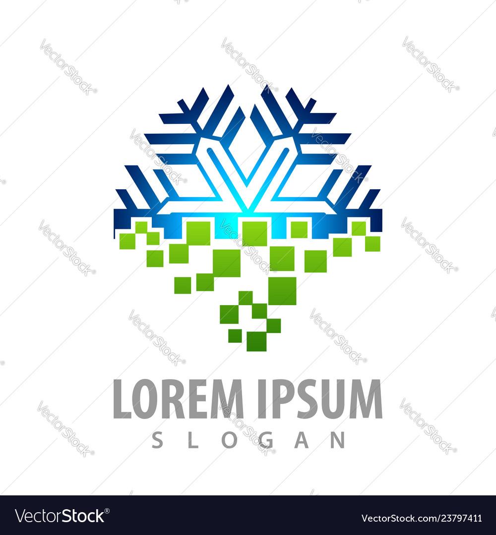 Digital snowflake logo concept design symbol