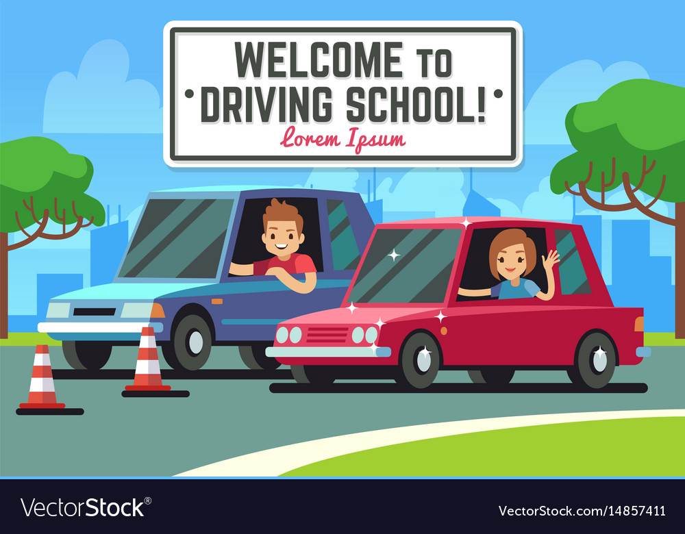Driving school background with young happy