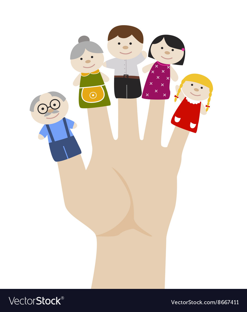 family finger puppets royalty free vector image