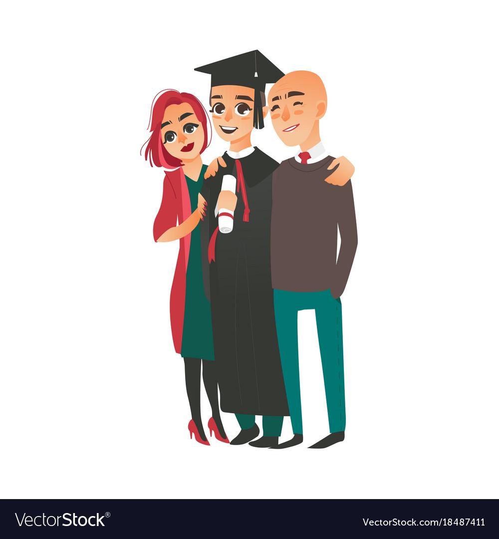 Graduate in cap gown standing with proud parents Vector Image