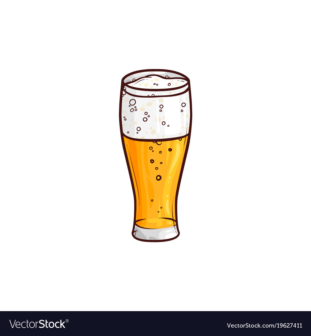 Hand-drawn glass of light beer lager ale cider