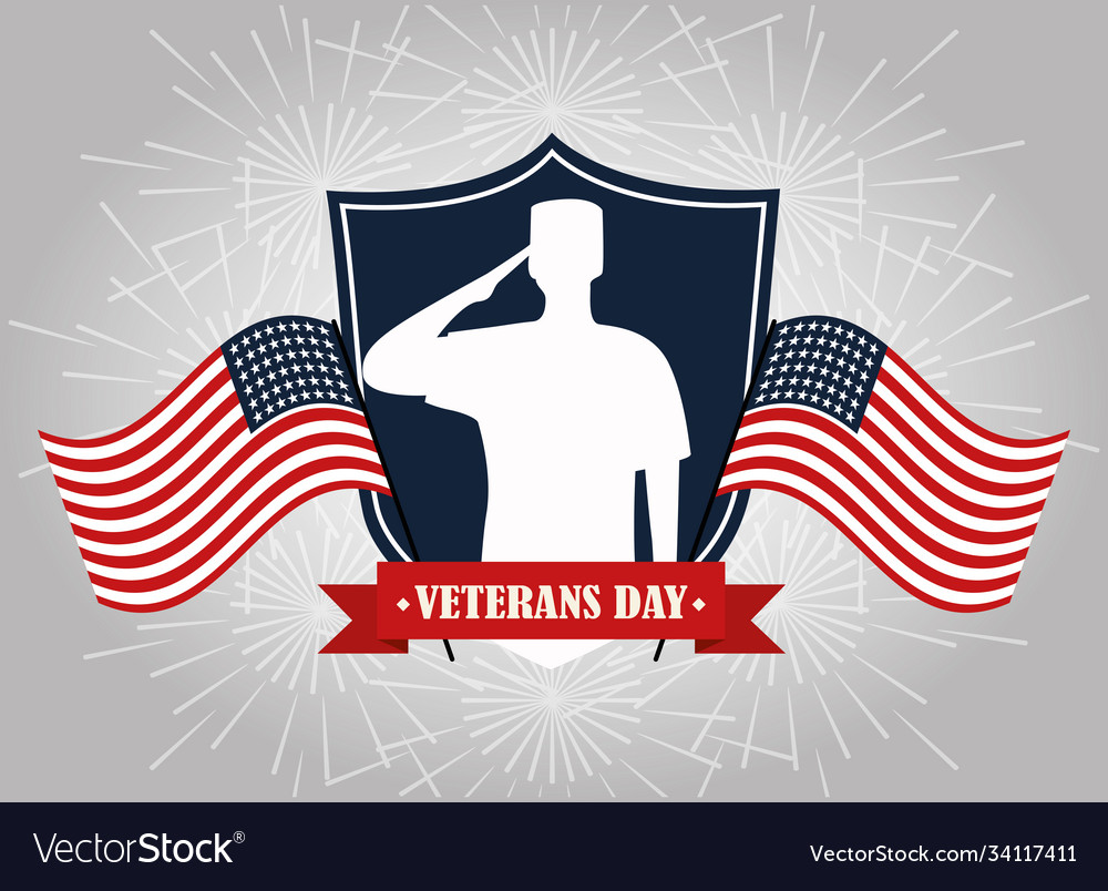 Happy veterans day soldier on shield with flags