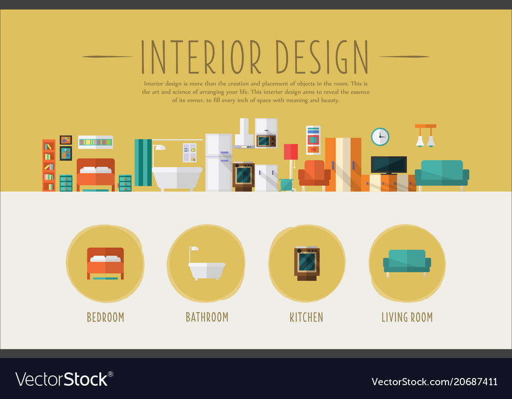 Interior design web banner template bedroom