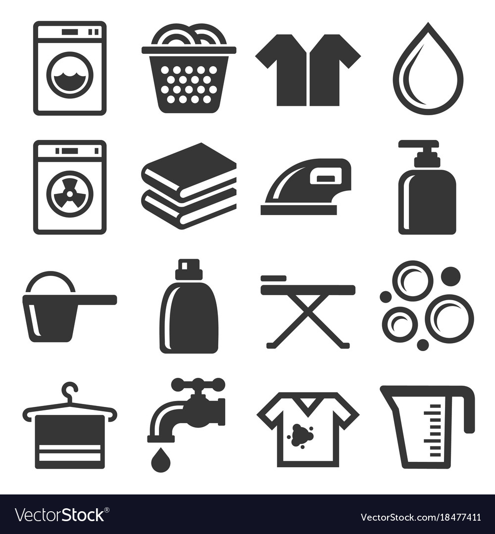 Laundry and housework icons set