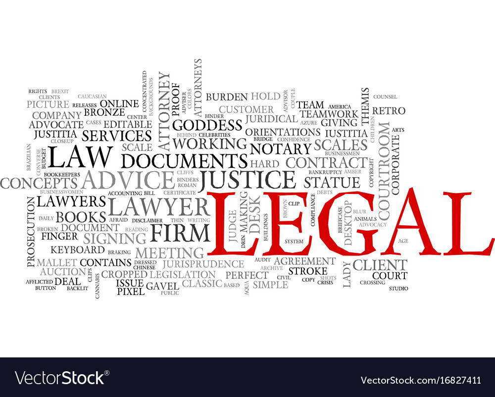 legal word cloud concept royalty free vector image