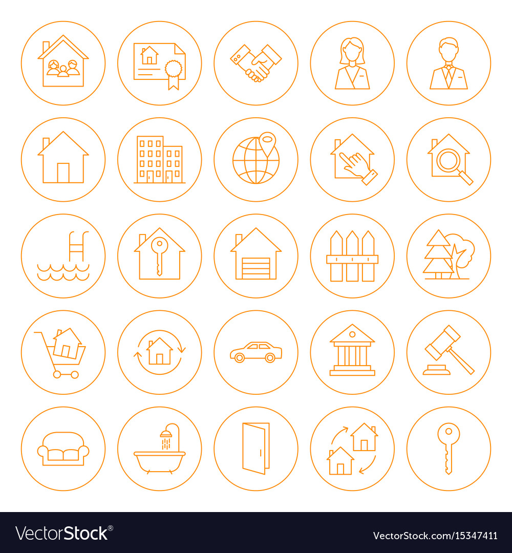 Line circle house icons
