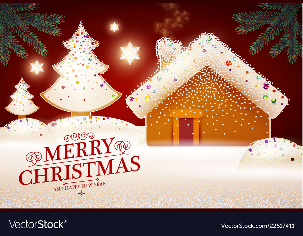 merry christmas cute background with gingerbread vector 22617411