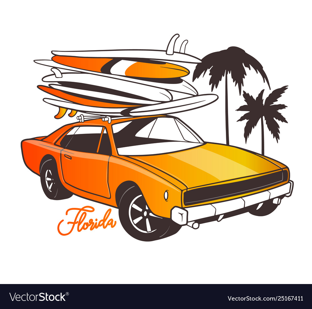 Miami typography for t-shirt print and retro car