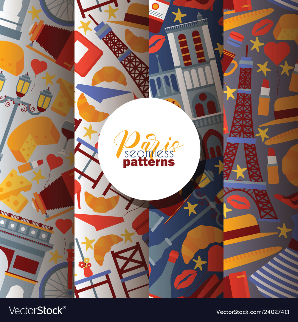 Paris seamless pattern french culture