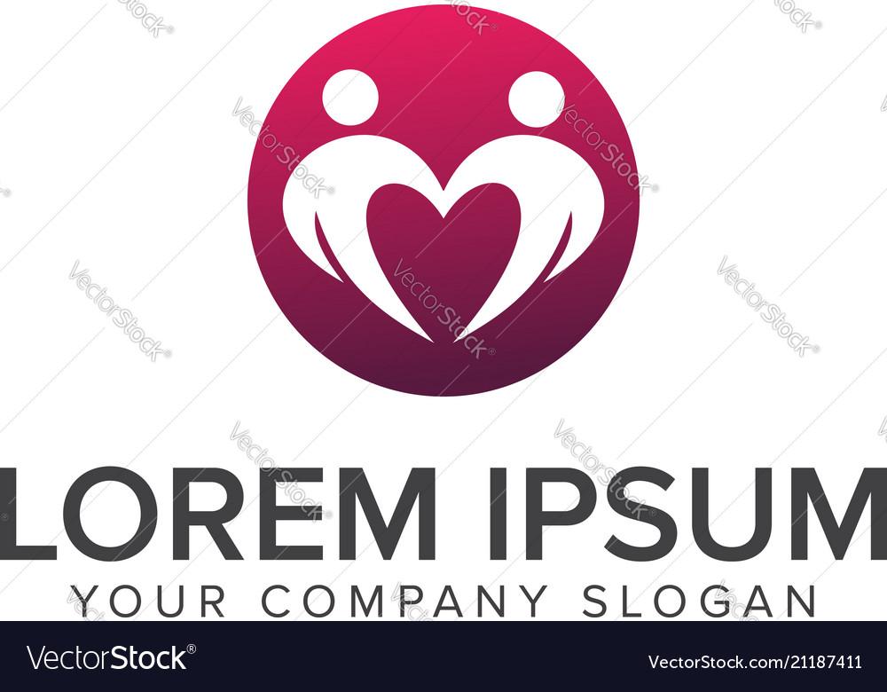 People dating romantic logo design concept