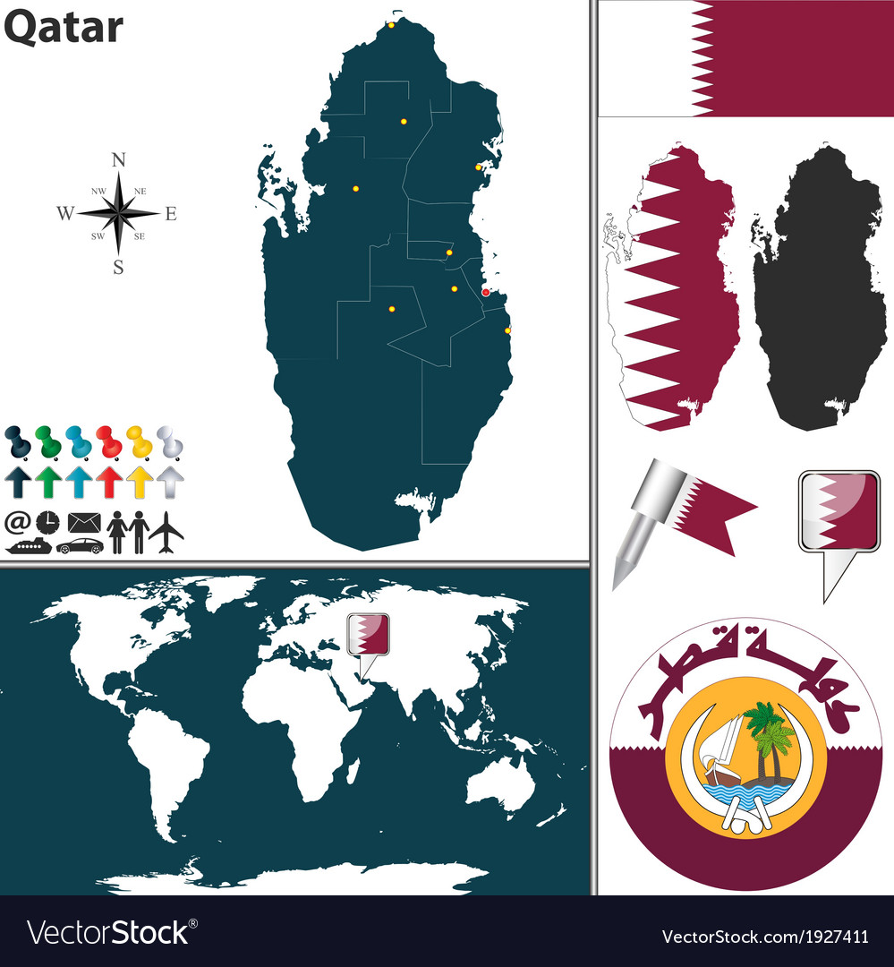 Qatar map world Royalty Free Vector Image - VectorStock on
