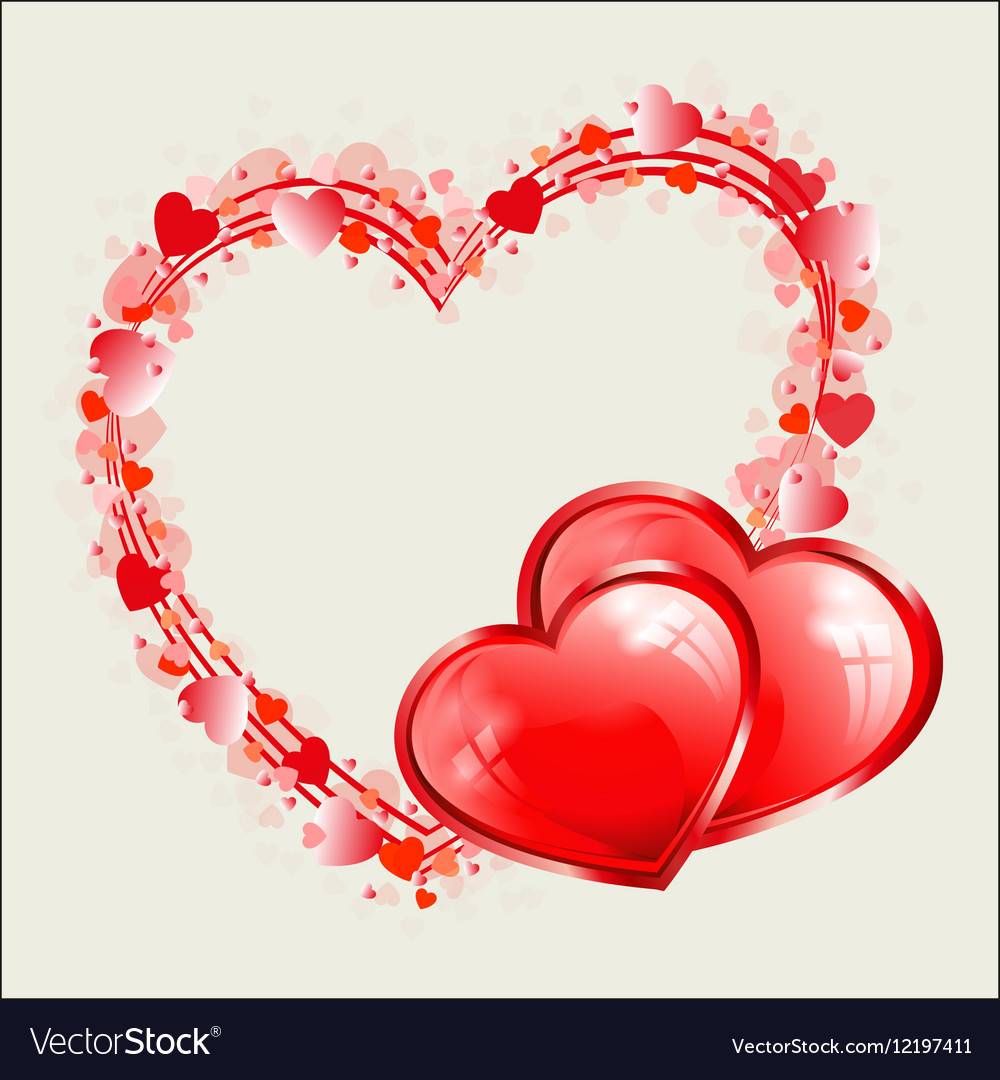 Red heart design as frame Royalty Free Vector Image
