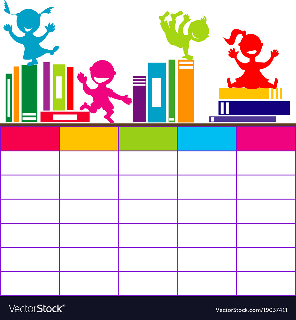 Quotes On School Time Table: School Timetable With Books And Cartoon Kids Vector Image
