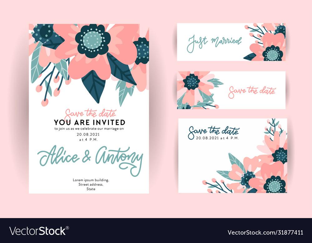 Set wedding invitation template greeting card