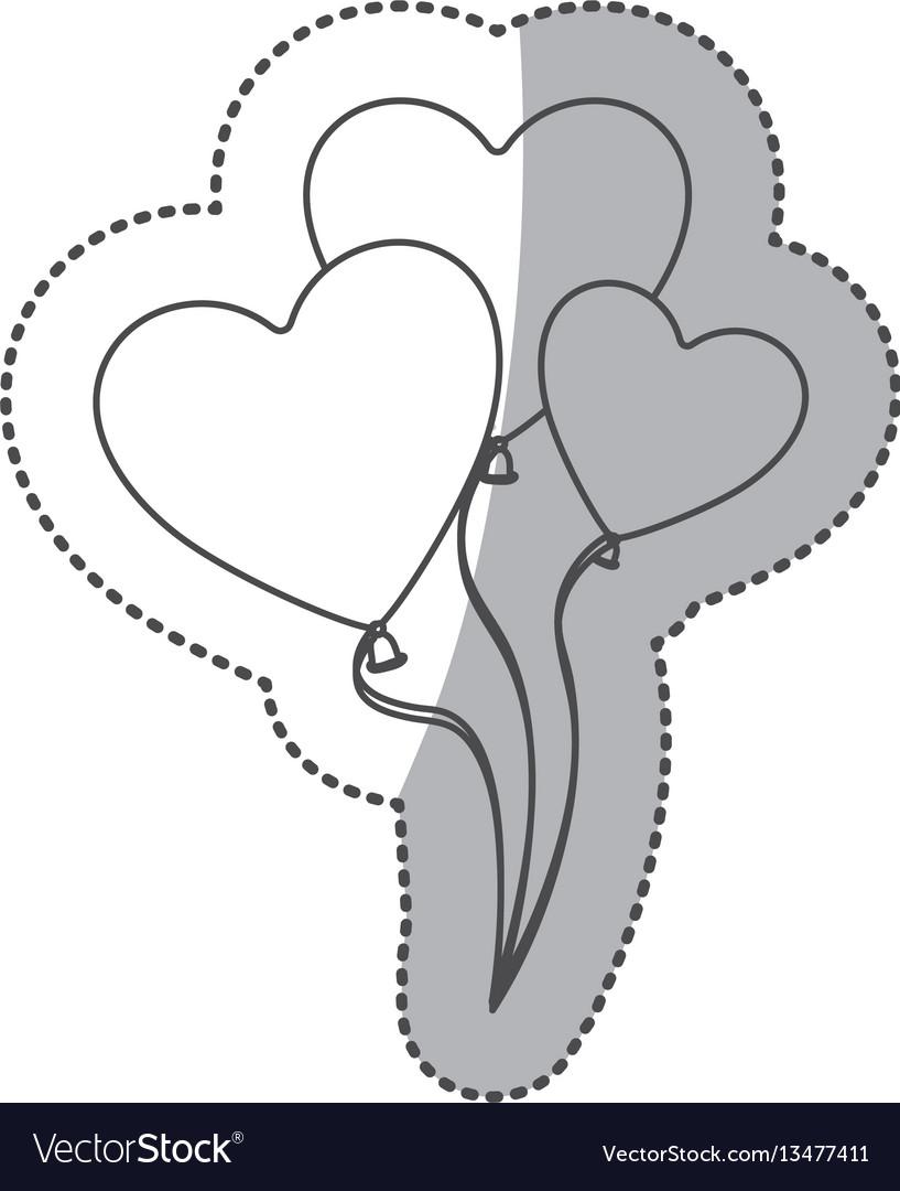 Sticker silhouette balloons set in heart shape vector image
