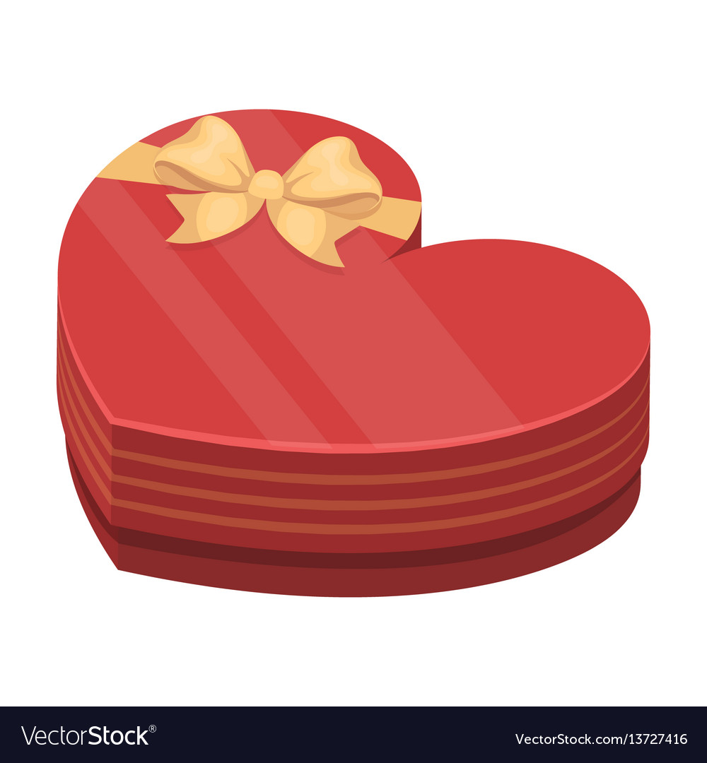 A box in the form of a red heart a gift to a