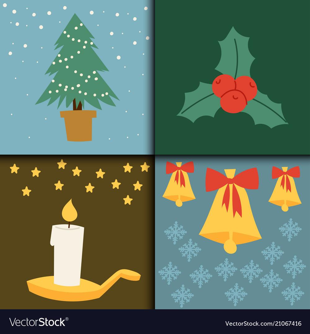 Christmas card symbols for greeting banner