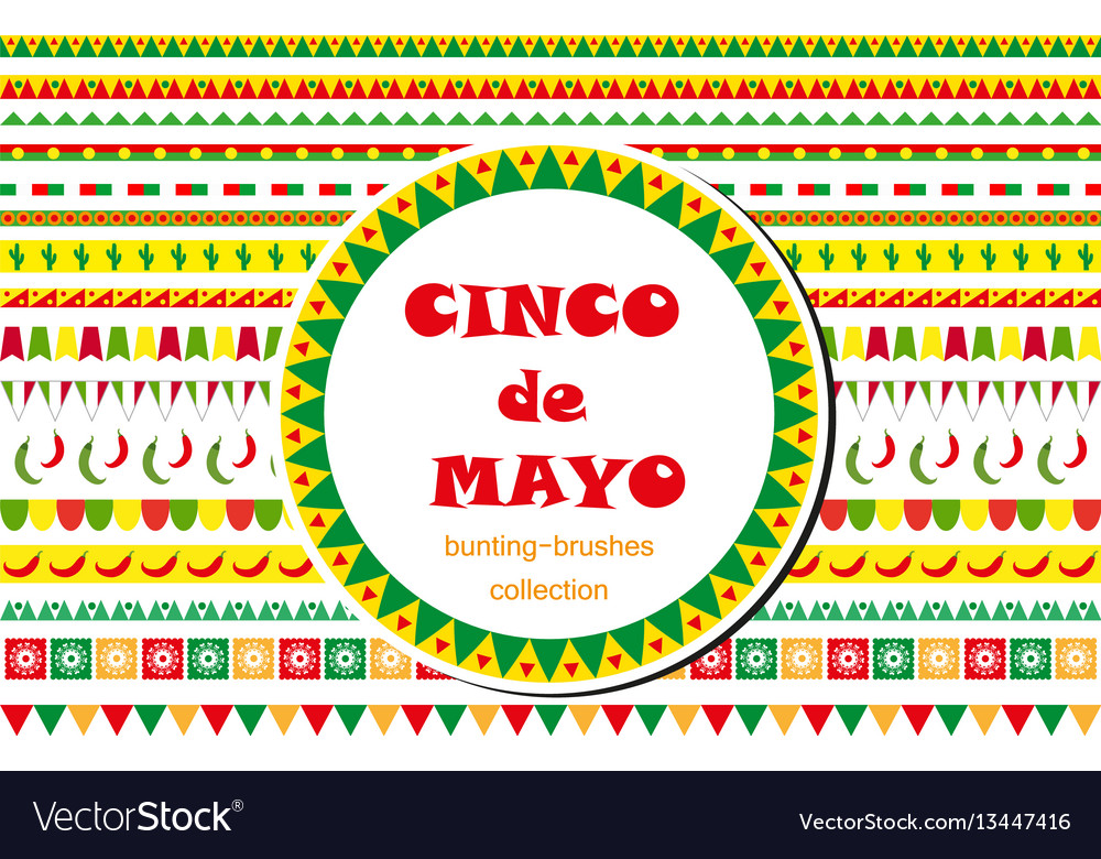 Cinco de mayo celebration set of borders