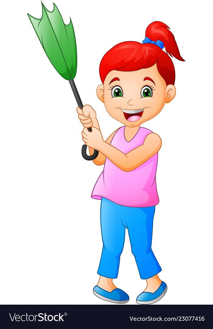 Cute young woman cartoon holding an umbrella
