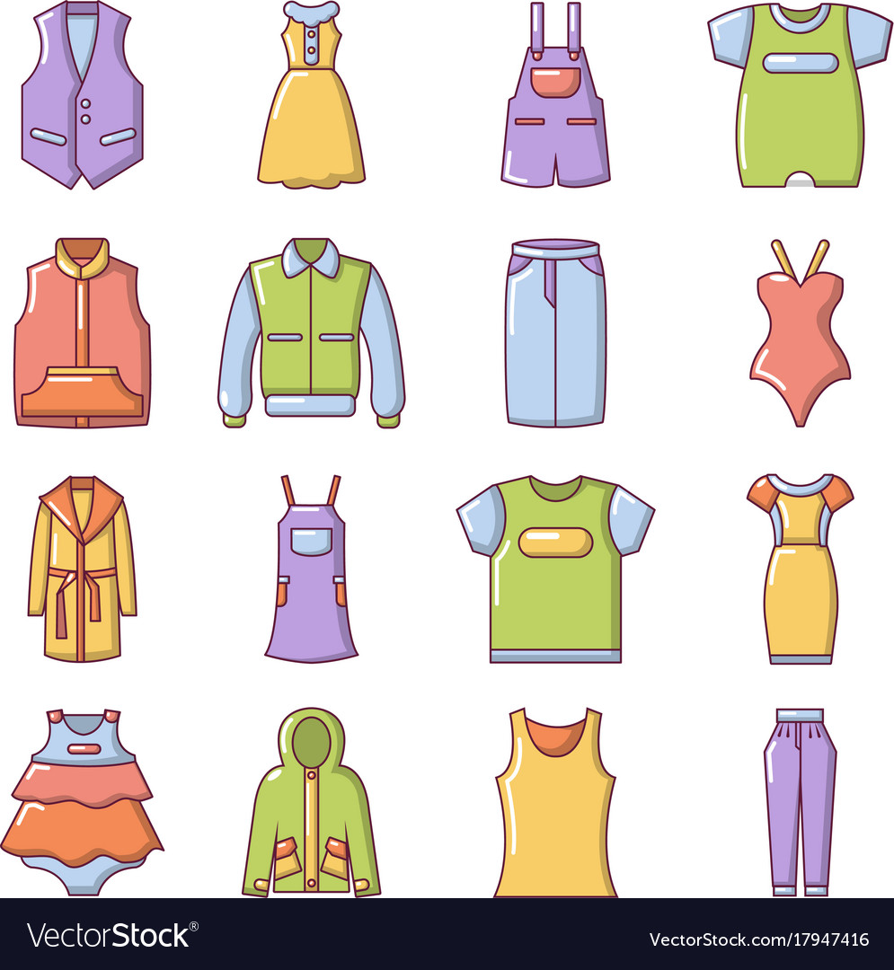 Fashion clothes wear icons set cartoon style