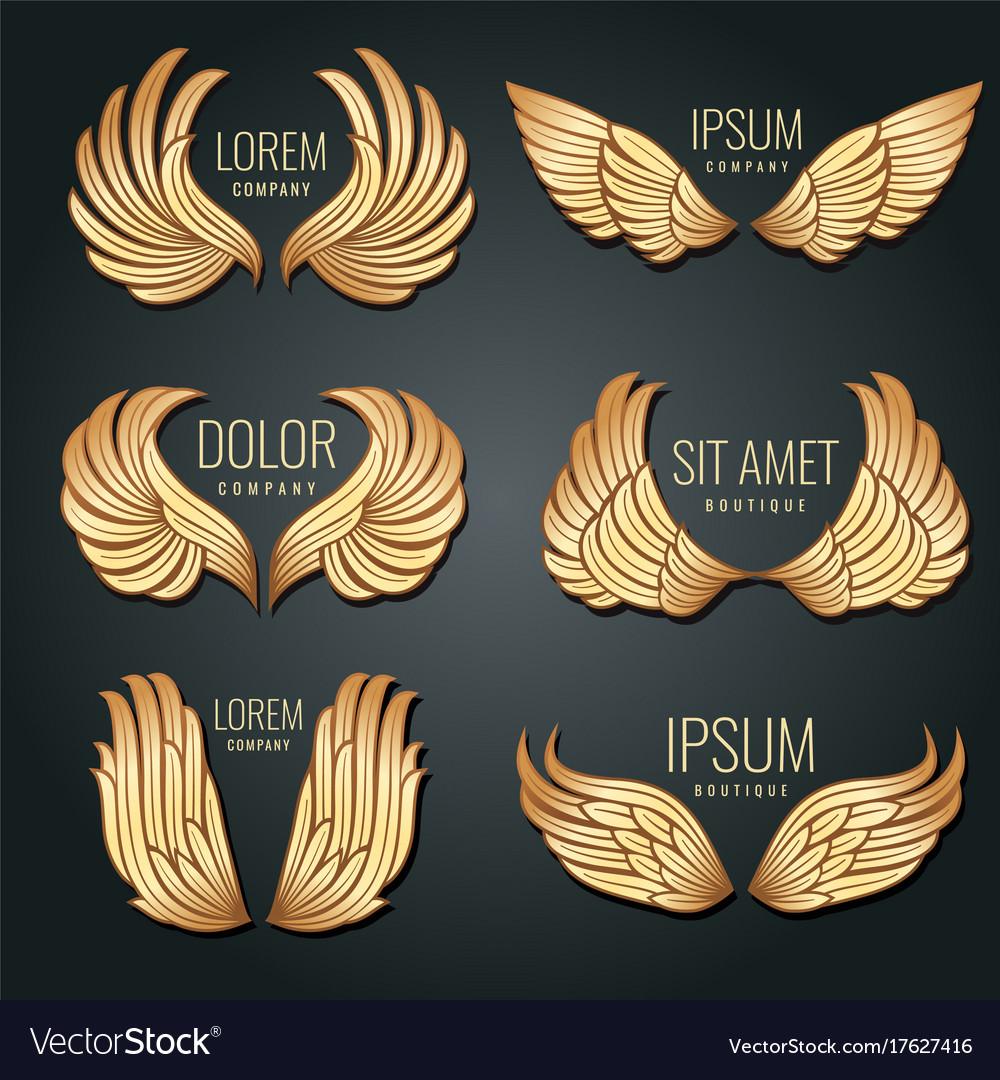 Golden wing logo set angels and bird elite