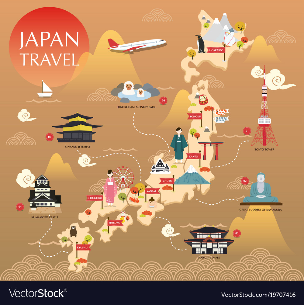 Japan landmark icons map for traveling Royalty Free Vector