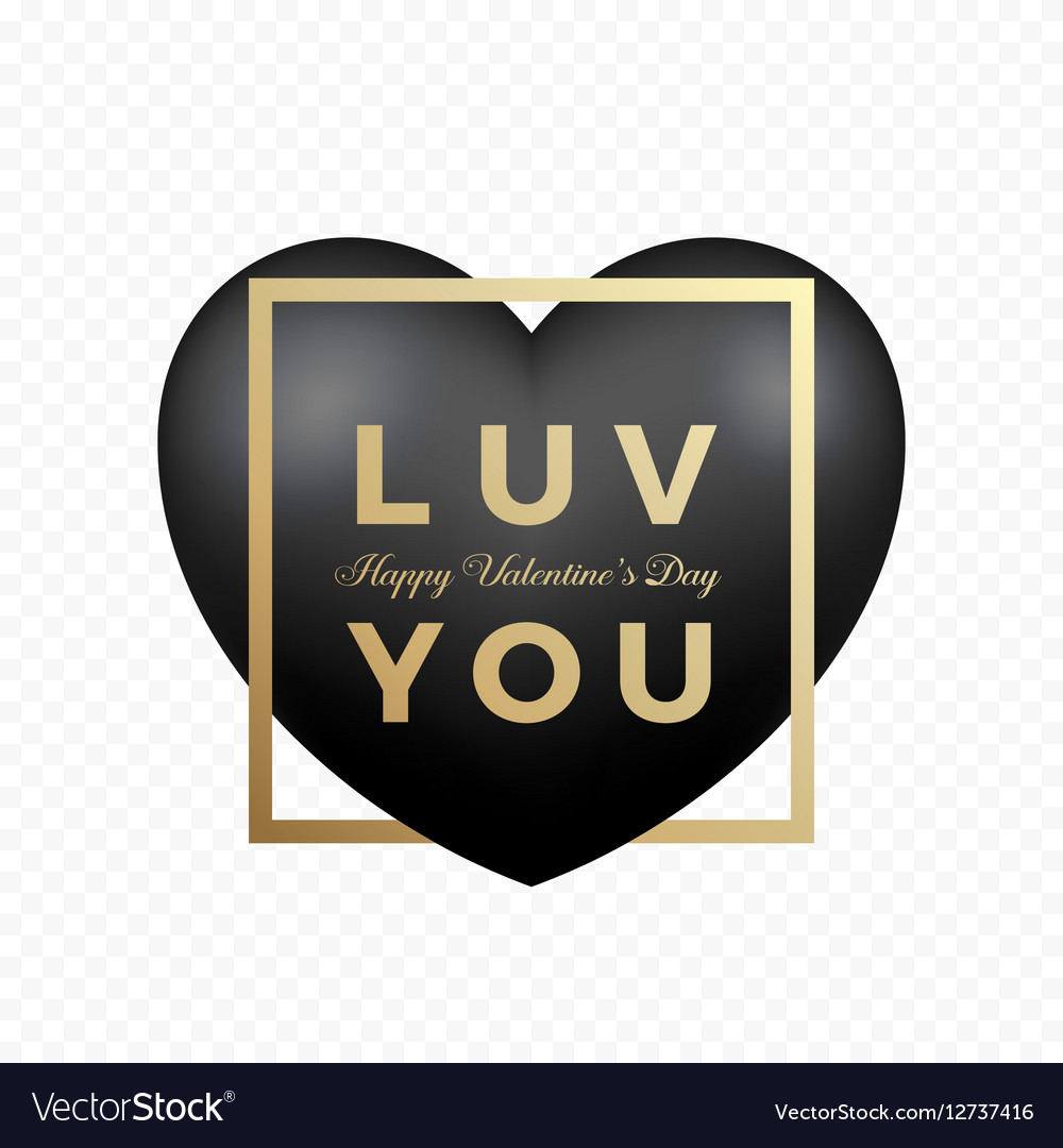 Love You Black Premium Heart on Transparent