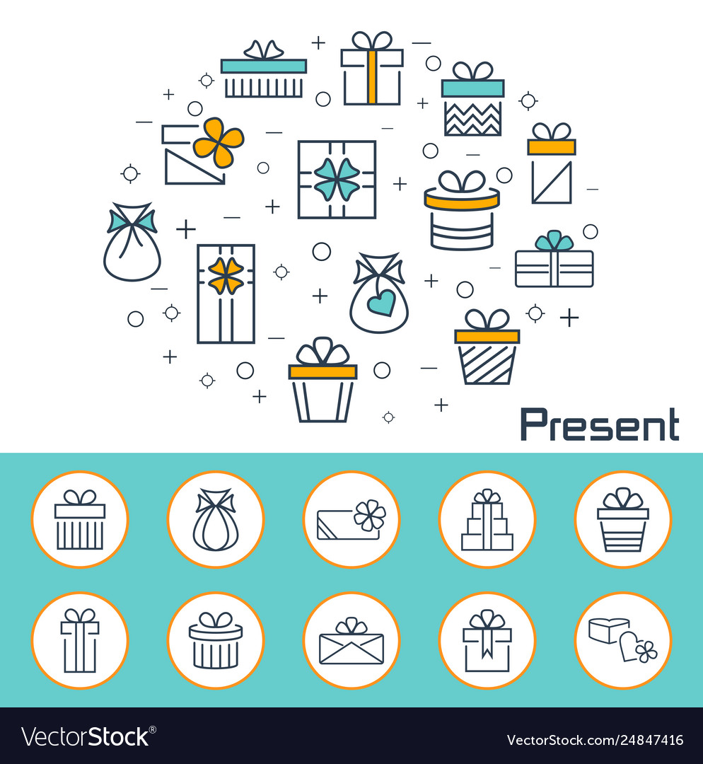 Present banner in flat style outline icons